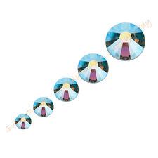 144 Swarovski Rhinestone 5 Mixed Size Sapphire AB 2088 2058 Crystal Nail Art