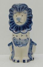 Gzhel Pottery Lion Creamer Blue and White Pitcher Hand Painted USSR Kitchen Cute