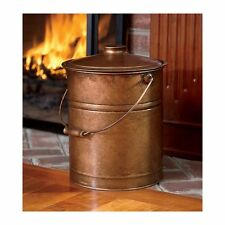 Copper Ash Bucket Hearth Fire Place Wood Stove Steel Coal w/ Lid & Handle