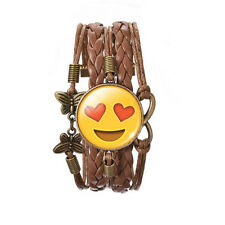 Love Face Smile Emoji Bronze Brown Leather Emotions Bangle Bracelet BB169
