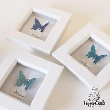 Butterfly Mini Flutter Picture Frame Glitter Quote Set Home Sweet Home Blue