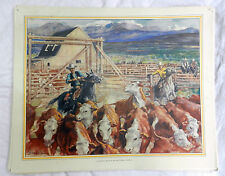 Vintage Schools Poster - A Cattle Ranch in Western Canada -  c 1920s / 1930s