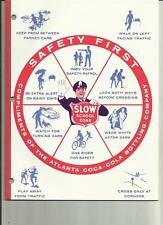 "COCA-COLA SCHOOL TABLET 1970'S ""SAFETY FIRST"""