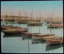 COLOUR Glass Magic Lantern Slide NEWLYN FISHING FLEET C1890 PHOTO CORNWALL