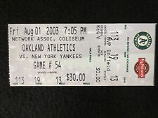 OAKLAND A'S VS NEW YORK YANKEES 8/1/03 VINTAGE TICKET STUB EXCELLENT CONDITIO