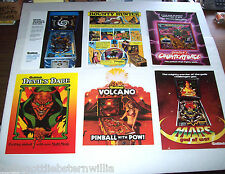 Lot (6) ORIGINAL GOTTLIEB 1980s PINBALL MACHINE Flyers BLACK HOLE MARS set #7