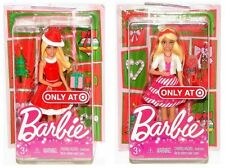 "Barbie Christmas Happy Holidays 4"" Mini Dolls Set of 2 Target Exclusive"