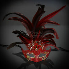 Masquerade Mask Feather Red Venetian Mardi Gras Masks for Women M33136D