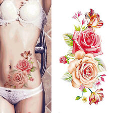 Women Rose Temporary Tattoo Fashion Sticker Waterproof Flower Arm Body Back Art