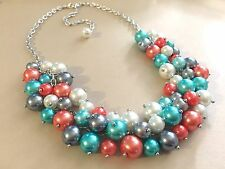 Blue coral Gray Whit beaded Necklace Pearl Bridesmaid Statement ChunKy Bib Chain