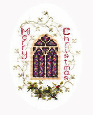 Derwentwater Designs Christmas Greetings Cross Stitch Card  Stained Glass Window