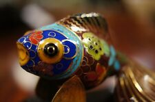 80s Vintage Chinese Cloisonne Gold Fish Statue Figurine