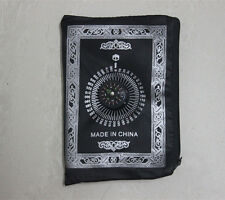 Portable Zipper Poly Prayer Rug Mat Muslim Eid Gift with Compass Attached Black