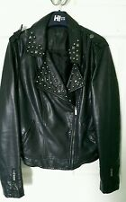LADIES faux leather studded jacket size 12 punk emo goth metal