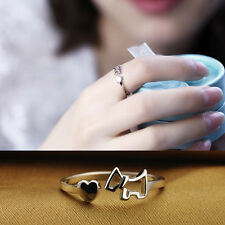 NewPlated silver Fashion Silver Lady Ring Finger Opening Adjustable Dog