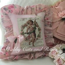 French~Roses~Cherub~Valentine Pillow~Net Lace~Heart Buttons~Bronze Locket