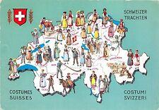 BC60135 Maps Cartes geographiques Costumes Suisses Schweiz