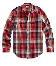 Lucky Brand - NWT - Mens L - Red Plaid Cotton Snap Down Martin Western Shirt