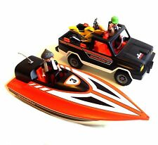 Playmobil Toys ADRENALINE SPORTS Truck, Boat & bike & action figure toys set lot