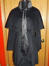 Women's RYU Charcoal Faux Fur Trim Cape Trench Coat NWT LARGE