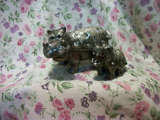 JEWELED PAINTED PEWTER HIPPO & BABY HINGED BOX