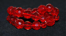 2 Strand Faceted Cut Red Crystal Beads Stretch Bracelet