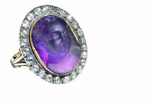 RRR! Georgian Rock Crystal Cameo Rose Cut Diamond Gold Ring Cupid Angel Antique
