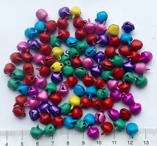 100 (approx) mixed,multicoloured, mini jingle bells, charms, 8 x 10mm SEMI-SHINY