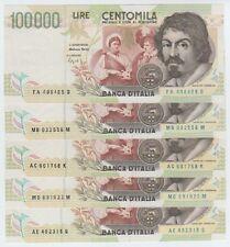 REP. ITALIANA - Lotto di 5 Banconote FDS (100000 Lire Caravaggio II A-B-C-D-E)