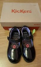 NEW KICKERS GIRLS BLACK SCHOOL SHOES SIZE 11 uk/ eur 29. LEATHER