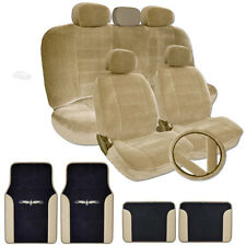 PREMIUM GRADE TAN VELOUR CAR SEAT STEERING COVERS VINYL MATS SET FOR TOYOTA