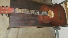 BEAUTIFUL VINTAGE ACOUSTIC GUITAR UNKNOWN MAKER DARK WOOD LOOK!