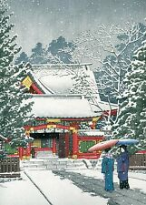 "HASUI KAWASE Japanese woodblock print ORIGINAL Shin-hanga ""Snow at Hie Shrine"""