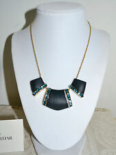 New $295 Alexis Bittar Lucite Crystal 3 Part Cabochon Bib Necklace Black Emerald