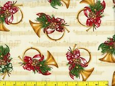 Decorated Christmas French Horns Quilting Fabric by Yard  #3195