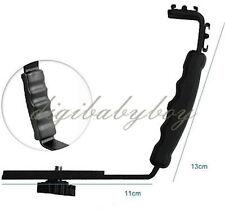 L Bracket Holder Mount 2 Hot Shoe for  DSLR Camcorder Mic Microphone Video Light