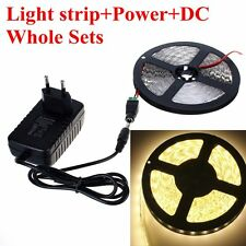 5M SMD 3528 300LED Warm White LED Strip Light + 12V Power Supply + DC Whole Set