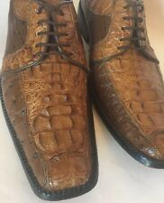 Italian Made Exotic Mens Croc And Ostrich Leather Oxford Dress Shoes. Sz 10.5-11