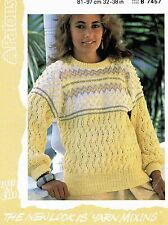 Lady Sweater Size 81-97cm 33-38 inch Patons 7457 Vintage Retro Knitting Pattern
