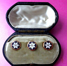 ANTIQUE GOLD,ENAMEL DRESS  SHIRT BUTTONS,COLLAR STUD SET IN ORIGNAL FITTED  BOX.