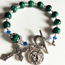 UNDOUBTED Malachite BEADS BRACELET ROSARY CROSS Sterling Silver flower