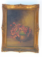 1800 vintage oil painting antique victorian frame signed Ruth M Ball Devoe board