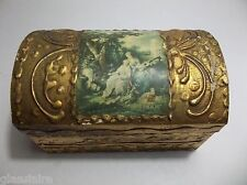 Antique Italian Florentine Triptych Gold Gilt Wood DOME Trinket TREASURE Box