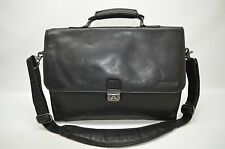 Kenneth Cole New York Designer Black Soft Pebble Leather Large Messenger Laptop