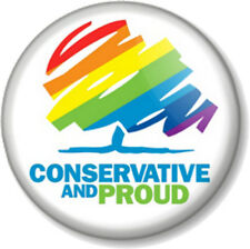 "Conservative and Proud 25mm 1"" Pin Button Badge General Election Political Party"