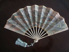 VERY LARGE ANTIQUE JAPANESE SHIBAYAMA & PAPER HAND FAN  * MEIJI PERIOD * BEAUTY
