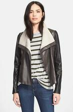 Vince ColorBlock Scuba Leather moto  Jacket  NEW Black and Gray Size M