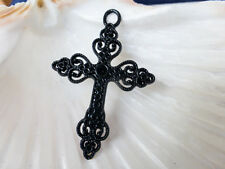 4 x Large Filigree Cross Charms Pendants Black 50mm x 35mm, Findings   (CPX7004)