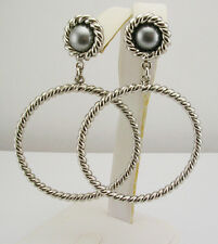 "Rachel Zoe Simulated Pearl Twisted Hoop Earrings  2 3/4""      (QVC Sold Out)"