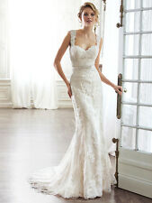 Sheath Wedding Dress Pia by Maggie Sottero Ivory/light gold size 14 New